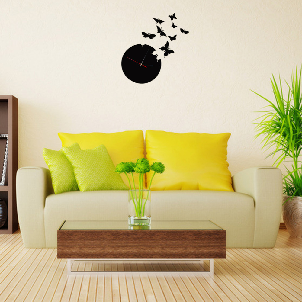 Beautiful Home Decor Black Butterfly Time Fly Wall Clock DIY Art ...