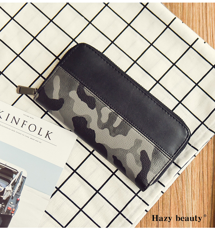 Men Money Clip Camouflage Wallet Clutch Hot Sale Purse  Male PU Clamps