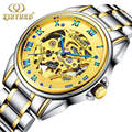 2016 Men's automatic mechanical watches hollow Golden stainless steel waterproof famous brand KINYUED luminous sports watch men