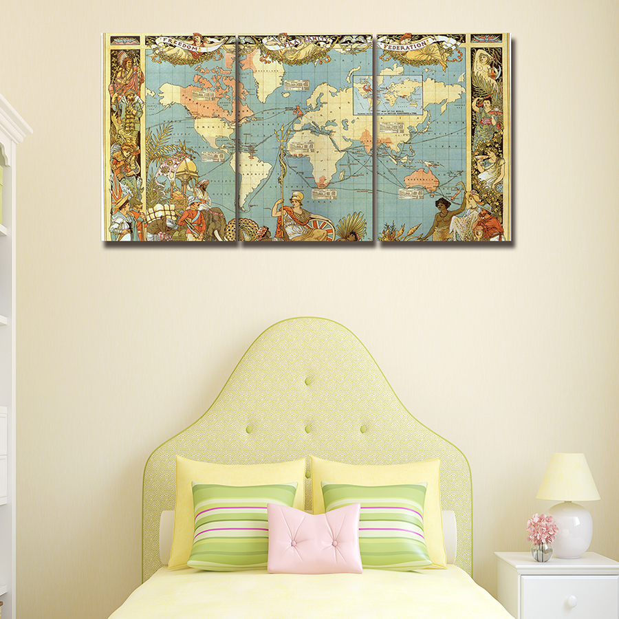 3 Panels The Medieval World Map Wall Paintings Decor Modern Canvas ...