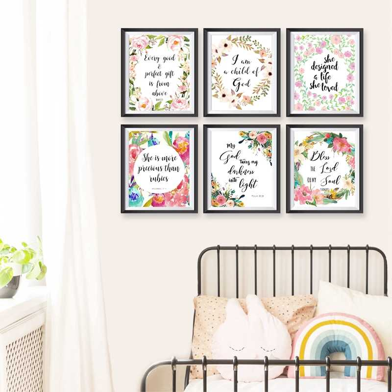 Girls Room Decor Bible Verses Quotes Art Canvas Painting Watercolor Flowers Christian Scripture Wall Art Posters and Prints
