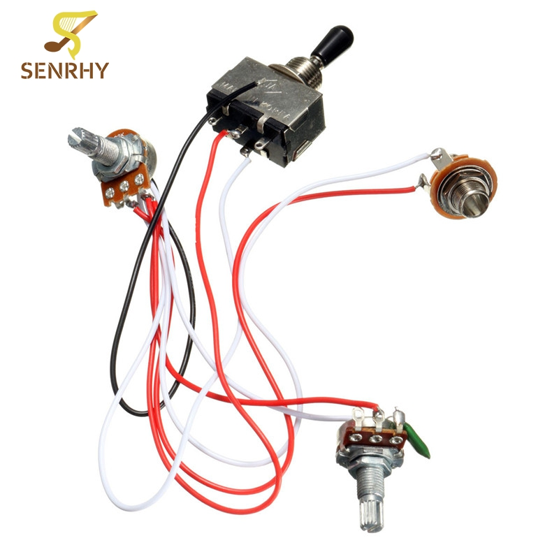 Electric Guitar Wiring Harness Kit 3 Way Toggle Switch 1 Volume 1 Tone 500K Pot Electric Guitar