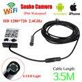Envío libre! WIFI IOS y Android HD 720 P 3.5 M Serpiente Cámara de Inspección Endoscopio Endoscopio 9 MM