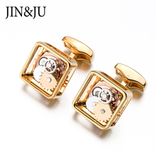 JIN&JU Newest Square Steampunk Gear Cufflinks Watch Mechanism For Men Formal Business Wedding Cufflinks Relojes Gemelos