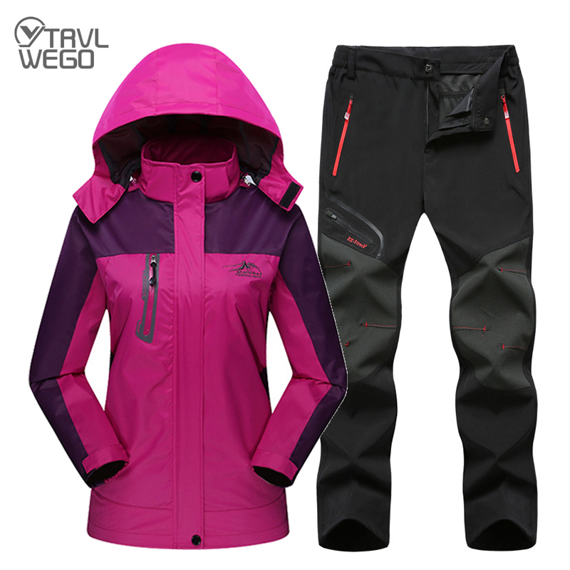 TRVLWEGO Spring Autumn Women Hiking Jackets Pants Suits Female Outdoor Waterproof Windproof Trekking Camping Fishing Windbreaker(China)