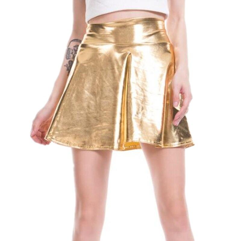 NDUCJSI 2019 New Women Summer Mini Skirt Solid Color Female Green Skirt Casual High Waist Faux Leather Skater Pleated Skirt