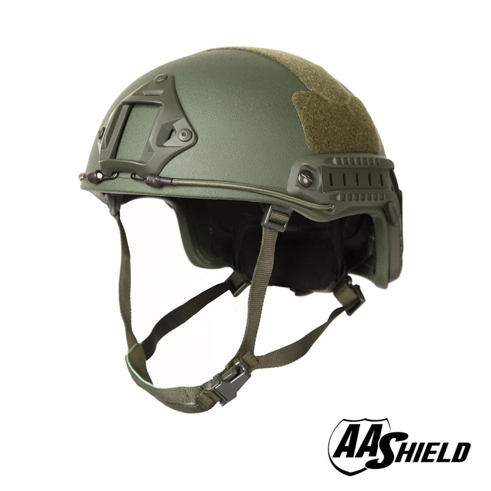 AA Shield Ballistic ACH High Cut Tactical Teijin Helmet Color OD Bulletproof FAST Aramid Safety NIJ