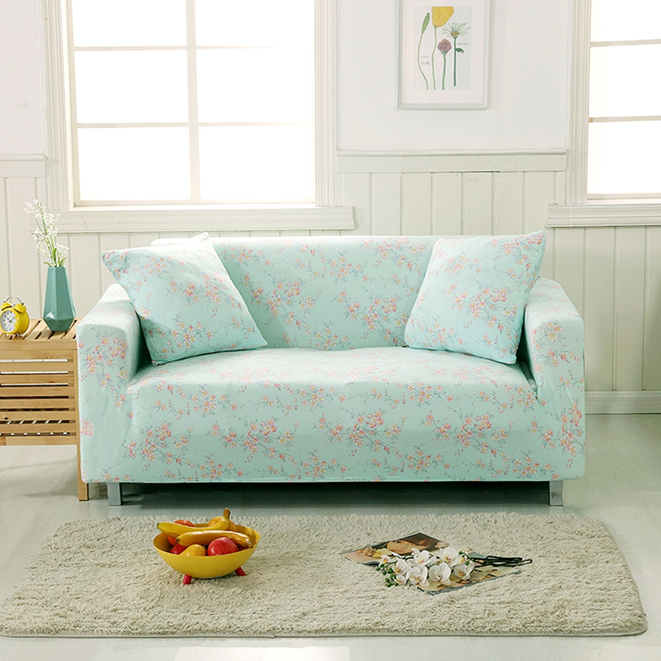 Light Green Flowers Couch Sofa Covers For Living Room