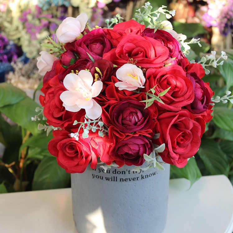 JaneVini 2019 Rosso Romantico Bouquet Da Sposa di Seta Artificiale Rosa Bouquet Da Sposa Spille Sposa Azienda Bouquet di Fiori De Fleurs