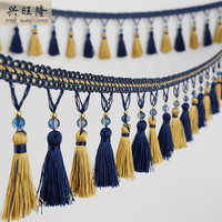 European 6M Lot Crystal Beads Curtain Lace Accessories Tassel Fringe Trim Ribbon DIY Sewing For Sofa