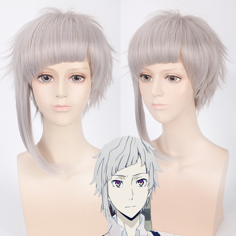 Morematch Bungo Stray Dogs Nakajima Atsushi Short Silver Gray Heat Resistant Cosplay Costume Wig+Wig Cap