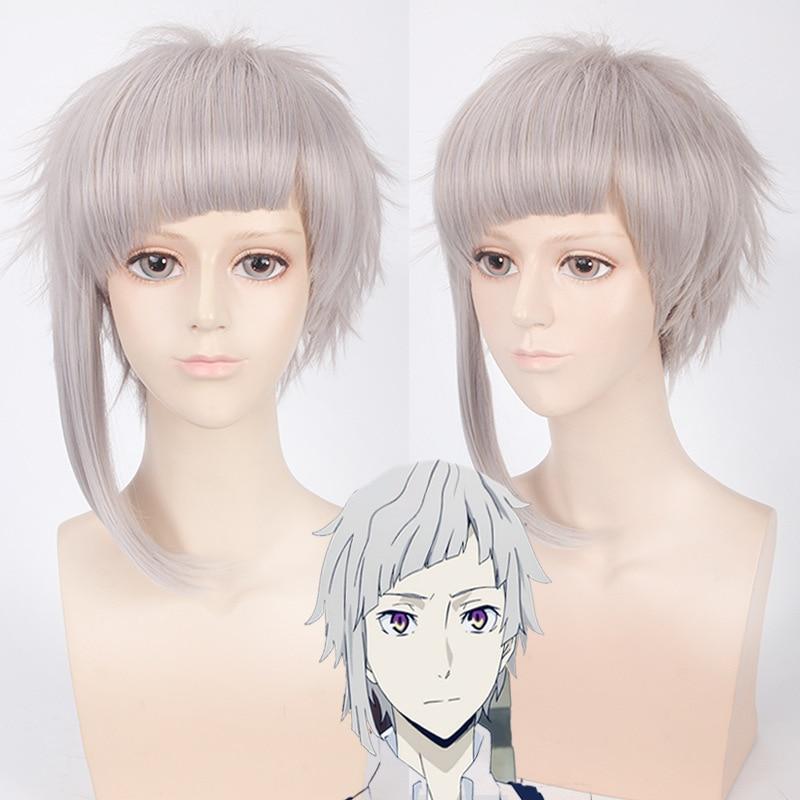 Morematch Bungo Stray Dogs Nakajima Atsushi Short Silver Gray Heat Resistant Cosplay Costume Wig+Wig Cap
