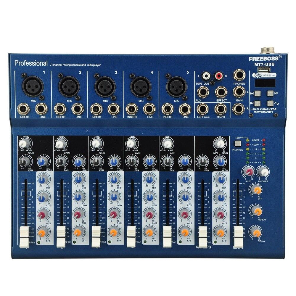 Freeboss MT-7 5 Mono + 1 stereo 7 channels USB Professional DJ Audio Mixer Console with 48V phantom freeboss me82 ultra low noise 4 mono 2 stereo 8 channels 16 dsp usb professional dj audio mixer console