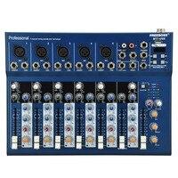 Freeboss MT 7 5 Mono + 1 stereo 7 channels USB Professional DJ Audio Mixer Console with 48V phantom