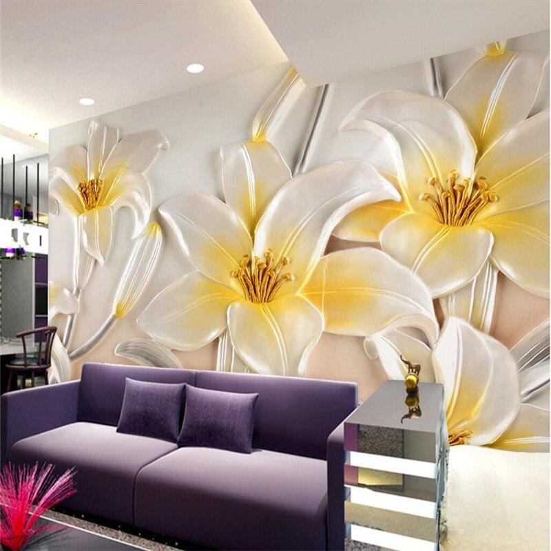 hotel modern lotus living pared mural relief background embossing murales badroom sitting wallpapers aliexpress