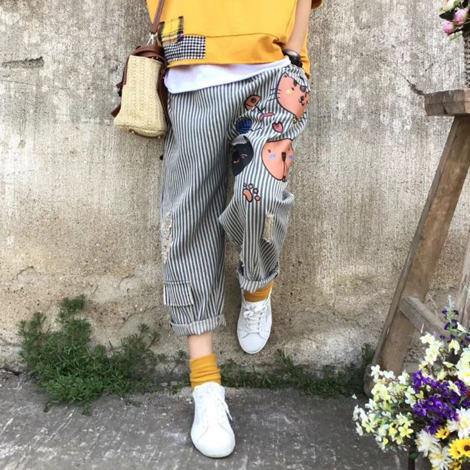 Women   Jeans   Straight Denim Pants Bottom Trousers Stripe Big Size Loose Cats Holes Cute Fashion Casual Fashion for Spring 60093-1