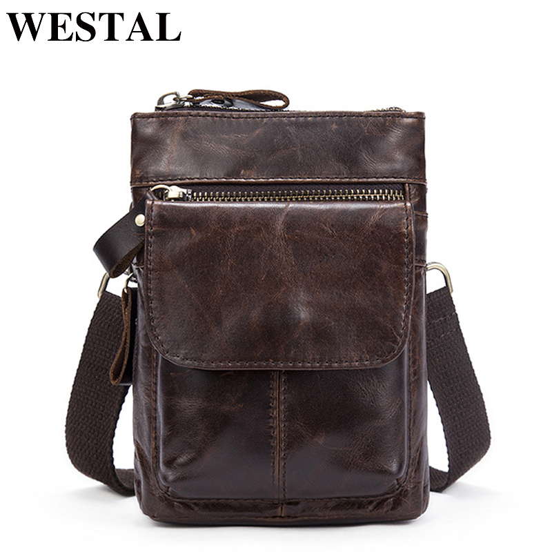 WESTAL Genuine Leather Bag Men Bags Leather Belt Waist Pack Men Messenger Bags Male Phone Small Flap Male Shoulder Crossbody Bag new pu leather cell mobile phone case small messenger shoulder cross body belt bag men fanny waist hook pack