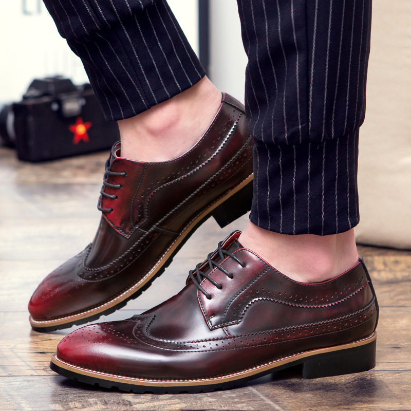 Brogue shoes men slip-on loafers leather PU massage waterproof wedges spring/autumn shoes casual black/golden shoes 2017 spring autumn casual genuine leather breathable men shoes han style tide fashion men manual waterproof slip on drive shoes