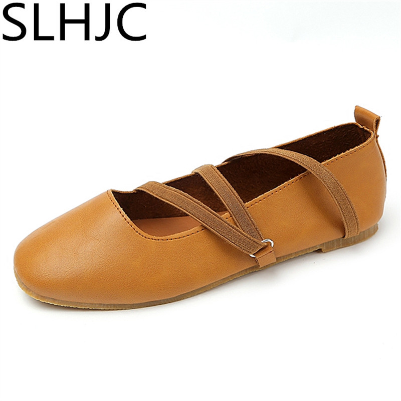 SLHJC Flats Women Spring Autumn Flat Heel Leather Casual Ballet Shoes Square Toe Slip Resistance Moccasins Shoes 2017 womens spring shoes casual flock pointed toe narrow band string bead ballet flats flat shoes cover heel women flats shoes