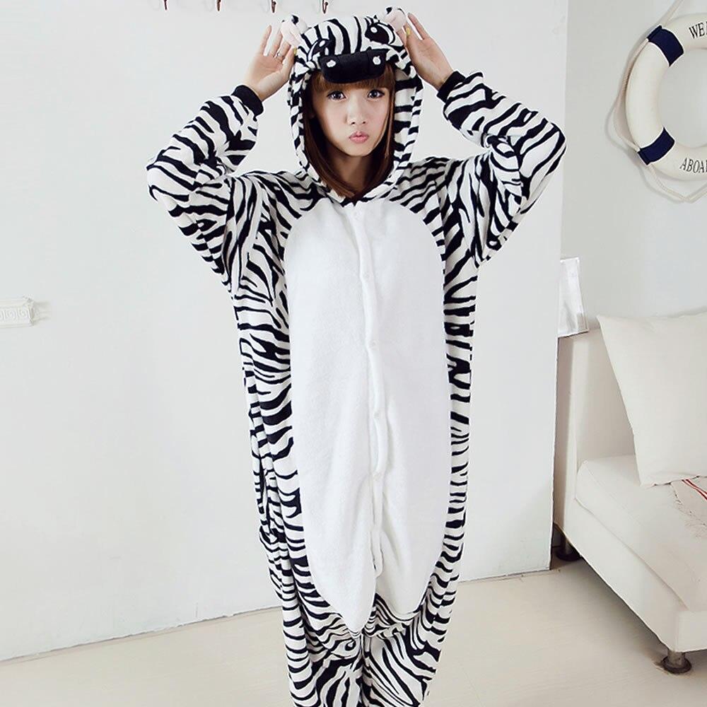 2018 Kigurumi Pajamas Adult Slippers Cute Cartoon Lovers And Zebra Flannel Pajamas Coral Siamese Children Home Furnishing Suit