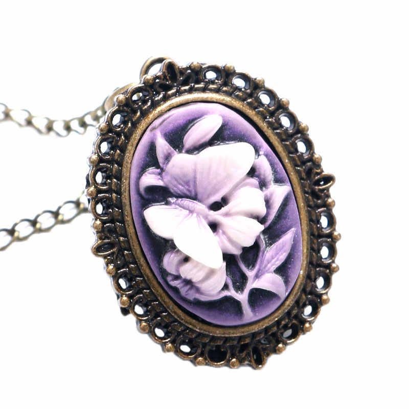 Фиолетовые бабочки цветок 3D Дизайн Винтаж ретро кварцевые карманные часы с цепочка-ожерелье под свитер для женщин дамы
