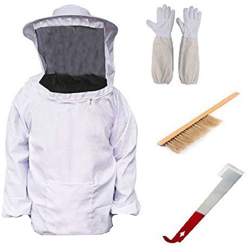 Hot Sale Beekeeping Beekeeping Equipment Tool 4 Pieces / Set Breathable Jacket Veil Long Sleeve Gloves Honeycomb Brush J Hook