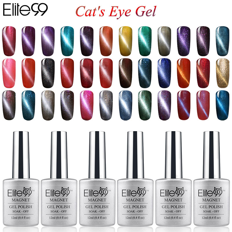 Elite99 6pcs Color Magnetic UV Cat Eye Gel Nail Polish 12ml With a ...
