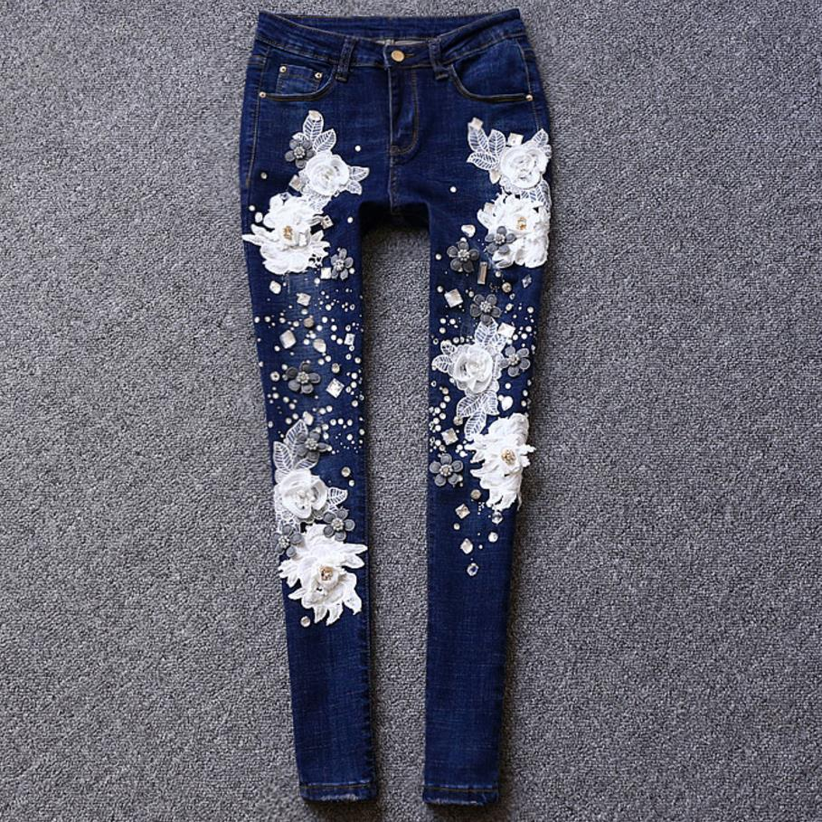 Rhinestones Diamond   Jeans   Beading Lace Flowers Denim Skinny embroidered flares Pencil   jeans