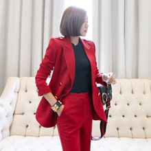 Womens suit womens fashion two-piece temperament Slim double-breasted jacket pants professional elegant  new
