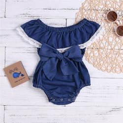 Милый джинсовый комбинезон для новорожденных девочек с кружевным бантом и оборками, мини-одежда для маленьких девочек, conjunto infantil 40ja02
