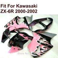 Hot koop stroomlijnkappen voor Kawasaki ZX6R roze 2000 2001 2002 Ninja ZX 6R 636 00 01 02 kuip kit gratis custom CN66