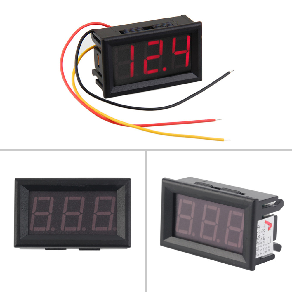 Detail Feedback Questions About Volt Meter Voltimetro Mini Digital 3 Wire Voltmeter Wiring 45 30v Wires Vehicles Motor Voltage Panel Led Display Colorred On
