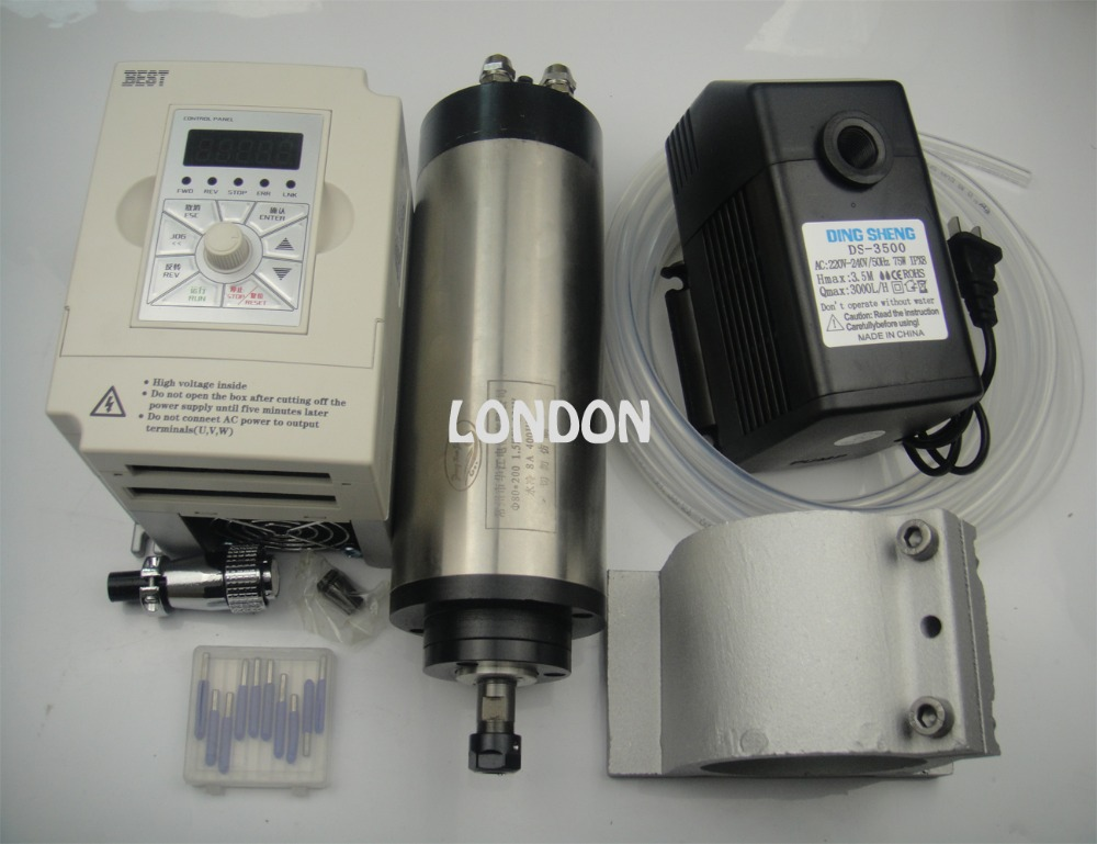 1.5KW 220V Spindle Water Cooled Kit er11 Milling Spindle Motor + 1.5KW VFD + 80mm Clamp + Water Pump&pipe +CNC router bits fiio a3 silver