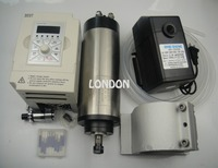 1.5KW 220V Spindle Water Cooled Kit er11 Milling Spindle Motor + 1.5KW VFD + 80mm Clamp + Water Pump&pipe +CNC router bits