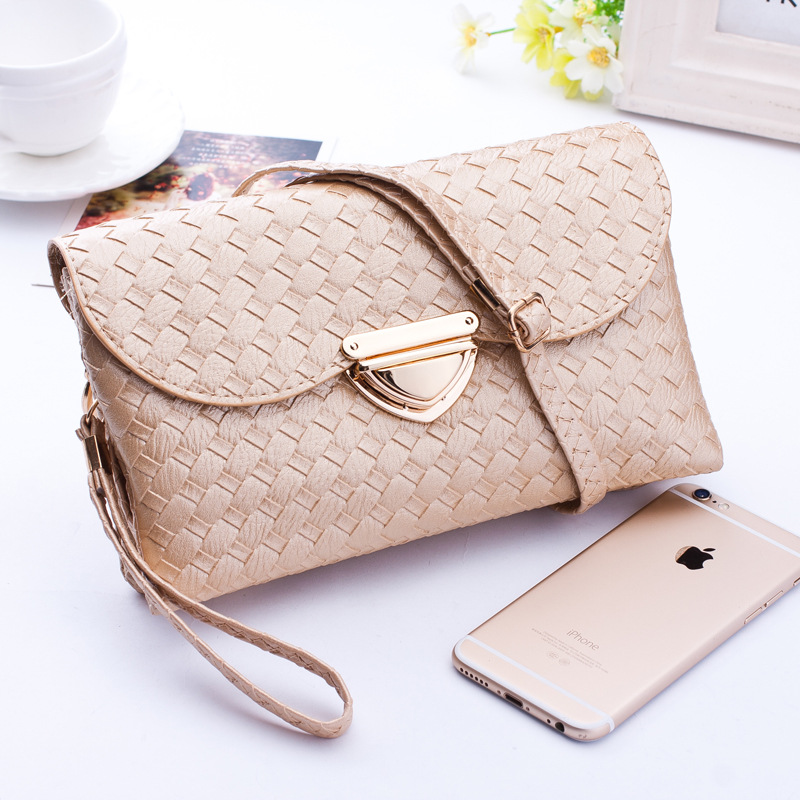 Womens Clutch Bags and Purses Fashion Quilted Knitting Hasp Shoulder Bags Women Weave Wallet Evening Party Handbags quilted purses
