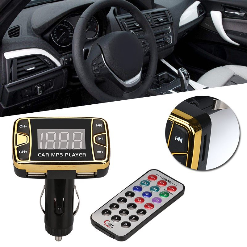 Hot Selling MP3 Player Wireless FM Transmitter Modulator Car Kit USB SD TF MMC LCD Remote Gift Plug  Cigarette Lighter Directly