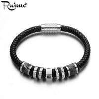 RUIMO Luxury Men's Bracelet Genuine Leather Braided Bracelets CZ Beads Stainless Steel Magnetic Clasp Bangles Jewelry 17 21cm