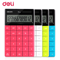 Deli Creative Cute Rimless Solar Coin Battery Dual Power Supply Calculator For Office Desk Supplyschool Stationery