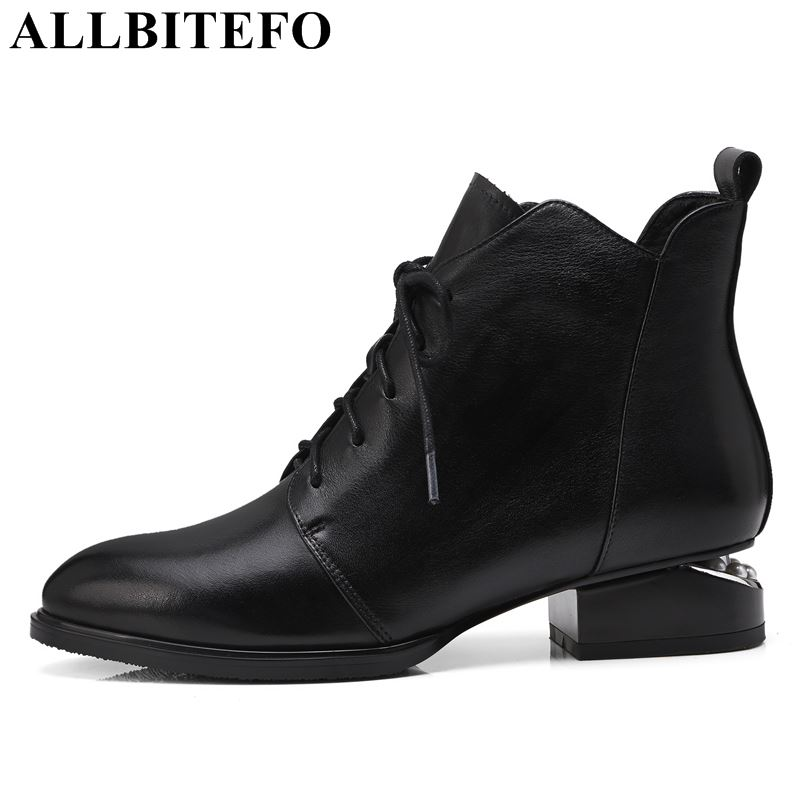 ALLBITEFO genuine leather pointed toe women boots brand high heels ankle boots women thick heel martin boots size:34-42 стоимость