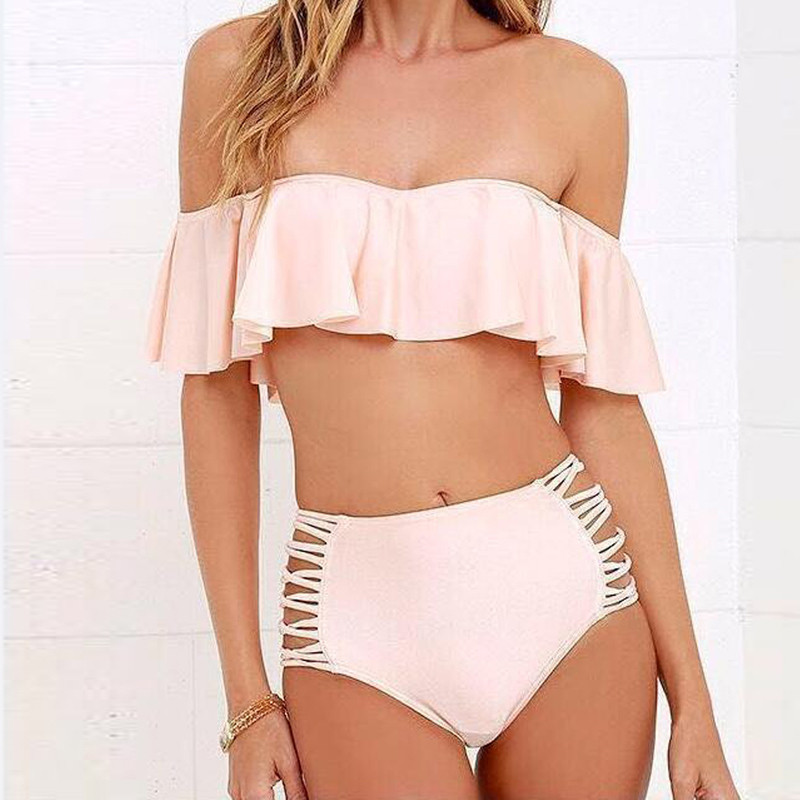 Summer New Ruffles Strapless Off The Shoulder Top And Shorts Two Piece Set Fashion Beach Swimwear Suit Clothing