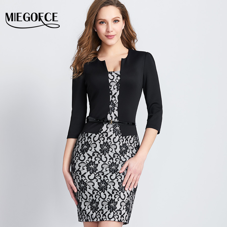 Womens Dress Mature Elegant Fashion Office Dress 34 Sleeve V Collar Slim Female -8409