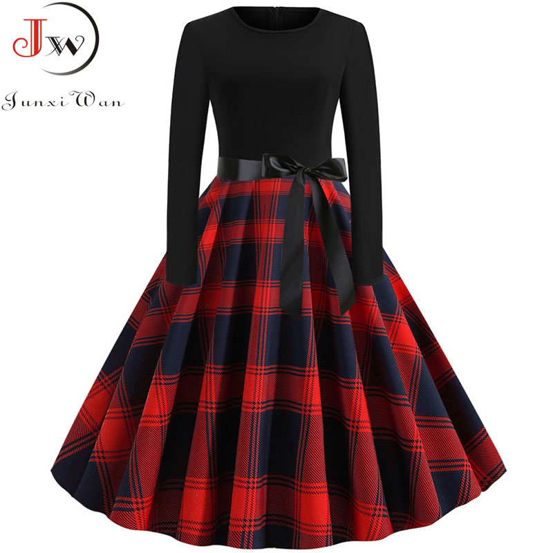 New 2019 Autumn Winter Women Plaid Print Dress Elegant Casual Vintgae Dress Robe Femme Black Patchwork A-line Party Vestidos