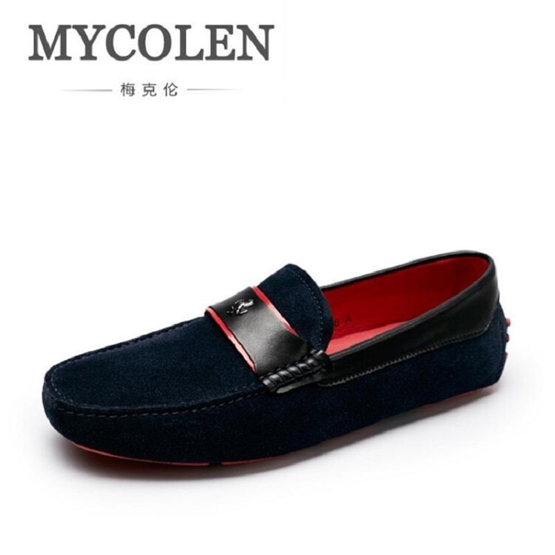 MYCOLEN Vintage Style Genuine Leather Men Loafers Casual Driving Shoes Men Moccasins Gommino Brand Men Shoes Zapatos De Hombre