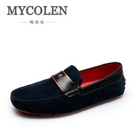 MYCOLEN Vintage Style Genuine Leather Men Loafers Casual Driving Shoes Men Moccasins Gommino Brand Men Shoes