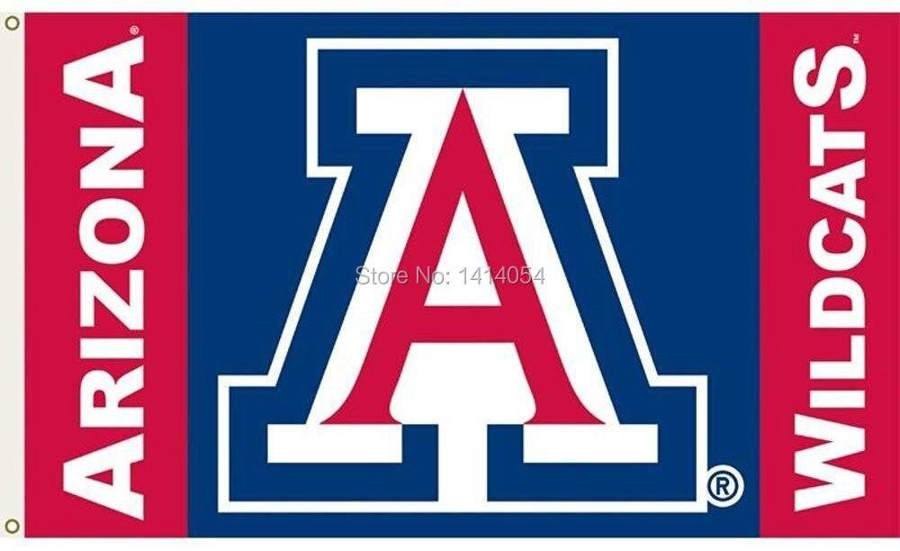 Arizona Wildcats logo wordmark Flag 150X90CM Banner 100D Polyester flag brass grommets 001, free shipping