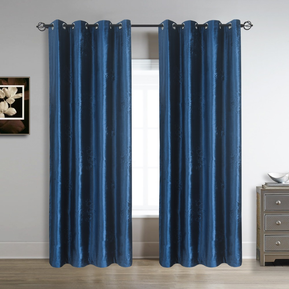 96 length inch floral embossed velvet curtains panels grommet 52 inch wide draperies navy royal blue2 panels for living room in curtains from home