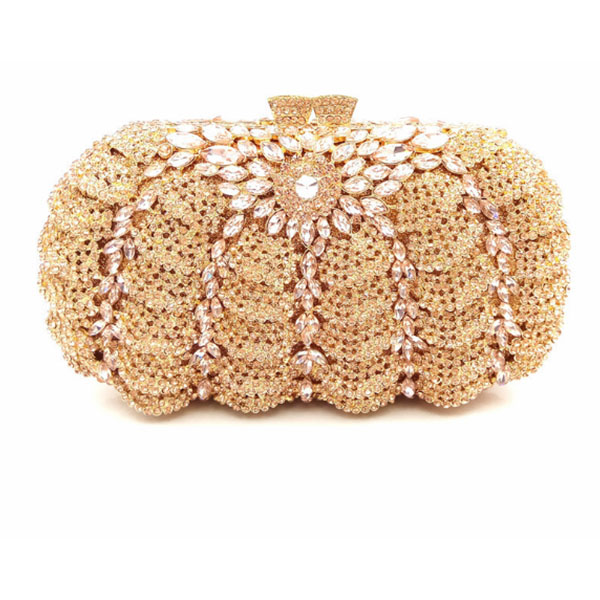 Golden Chain Evening Bag Diamond Pochette Purse Crystal Wedding Clutches Party Prom Formal Handbag Luxury Bling Bag champagne crystal diamond evening bag feast party purse wedding bridesmaid clutch bag with chain bling handbag