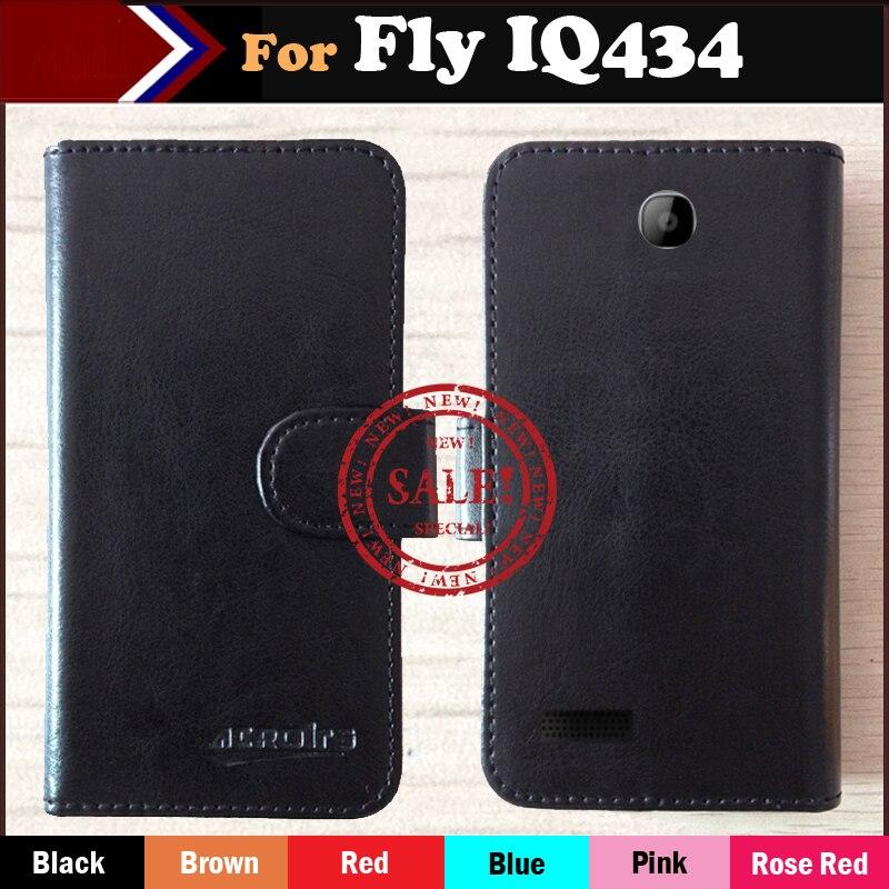 En Stock! pour Fly IQ434 ERA Nano 5 étui, 6 couleurs luxe Flip en cuir coque de téléphone pour Fly IQ434 étui avec fentes pour cartes Style de mode