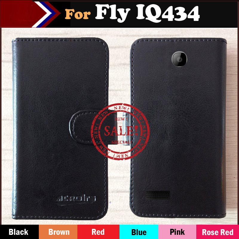 In Stock!For Fly IQ434 ERA Nano 5 Case,6 Colors Luxury Flip Leather Phone Case For Fly IQ434 Case With Card Slots Fashion Style