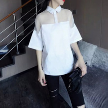 Nice Summer Women Blouses White Shirts Mesh Organza Blouses Sexy See-Through Blouse Office OL Blouses Ladies Tops  CM0001